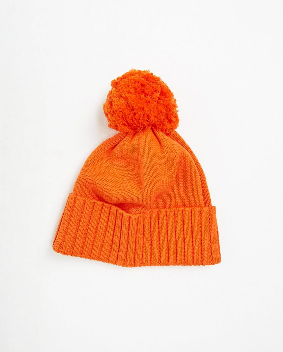 Bonneterie - orange - Bonnet avec pompon
